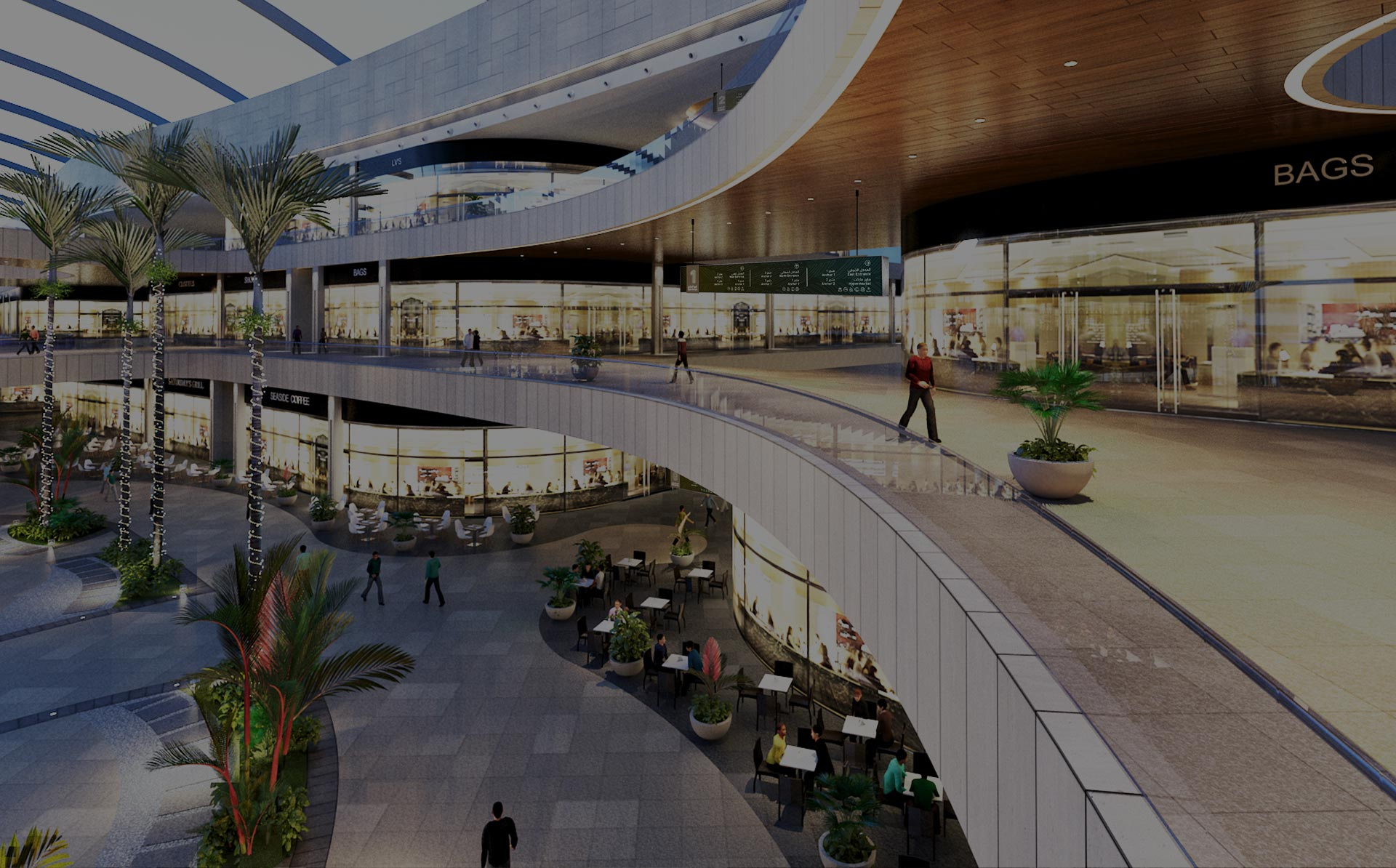 A rendering of Deira Mall with LIMAH's directional signage.