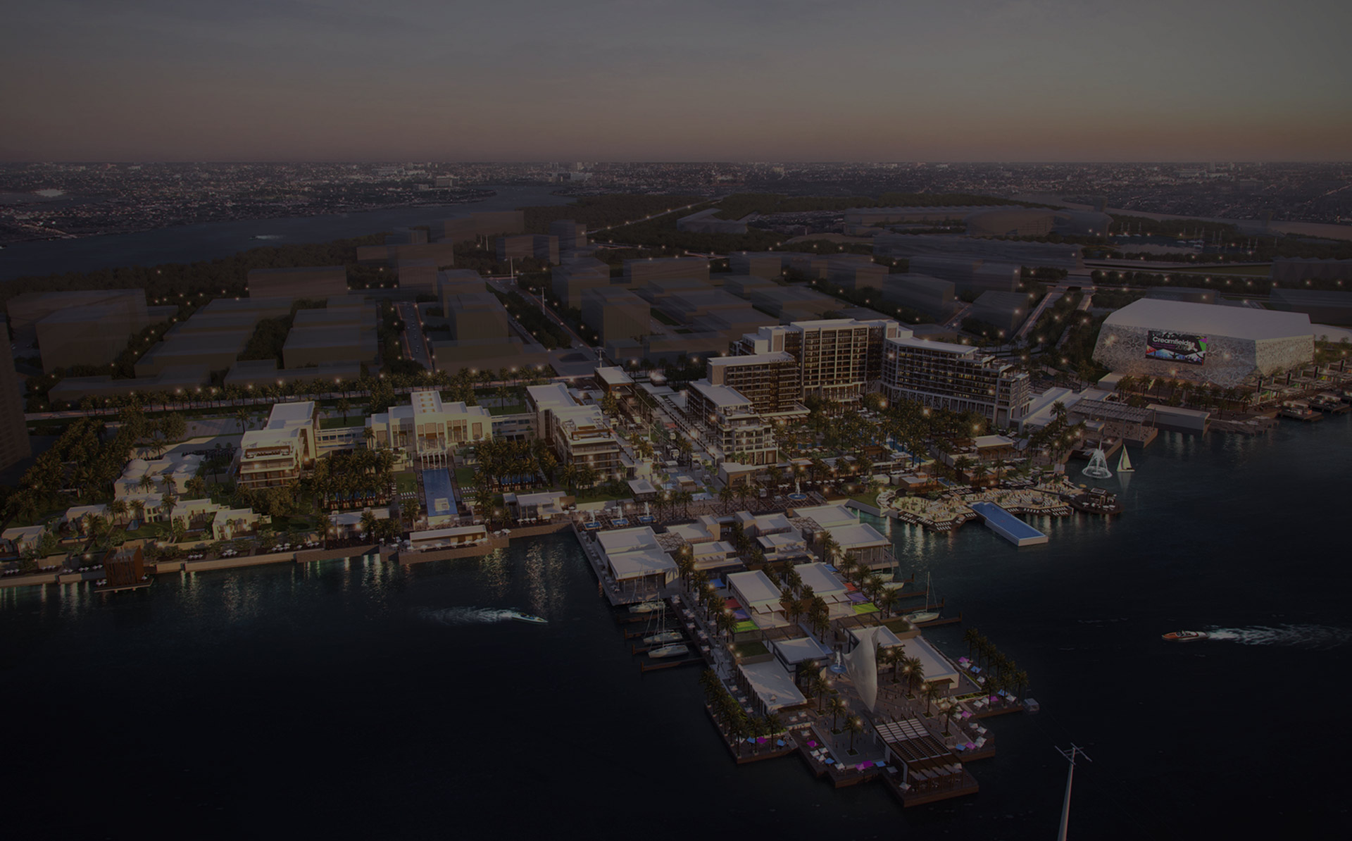 An overview render of the entire Yas Resort and Yas Arena master plan including the hotels and promenade and pier.